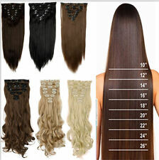 Long Thick Real 18 Clips Clip in Hair Extensions Full Head Set Straight Curly k2