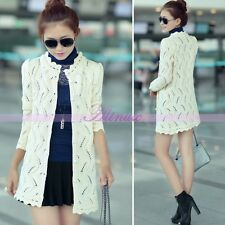 Fashion Ladies Knit Cardigan Sweater Long Sleeve Sweater Knitwear Outwear Coat