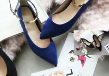 Women Fashion metal buckle Ankle Strap Style Flats Low Heel Pointed Toe shoes Ho