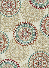 Ivory Contemporary Circles Area Rug Floral Multi-Color Modern Leaves Carpet