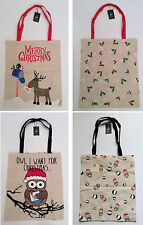 CHRISTMAS Design Canvas Tote Shopping Bags from PRIMARK *REINDEER OWL*