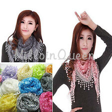 Women Lace Sheer Metallic Floral Print Triangle Mantilla Scarf Shawl Wrap Tassel