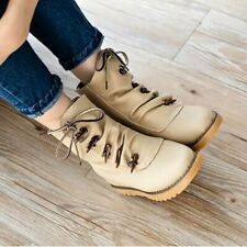 Trendy Ankle Boots Shoes Women Solid Button Boots Lace Up Flat Keel Snow Boots