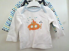 NEW WITH TAGS 2 PACK BABY BOYS TOPS MARKS & SPENCER BLUE MIX