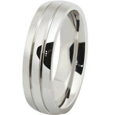 Size 7 to 13 6MM Stainless Steel Ring Grooved Silver Wedding Men Women Simple
