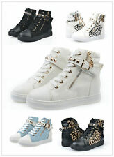 2014 Hot Women Casual Sneakers Rivets Buckle Zipper Walking Canvas Shoes