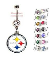 NFL PITTSBURGH STEELERS AUTHENTIC LOGO CHARM DANGLE NAVEL BELLY RING! NRNFL-102