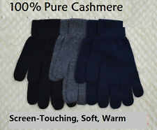 Mongolia 100% Pure Cashmere Men Man Signature Touch Gloves Mittens-Black Grey