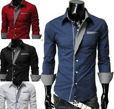 New Stylish Mens Slim Fit Casual Shirt Shirts Top Long Sleeve  M L XL XXL PS06