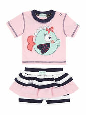 New Lilly & Sid Baby Girl Fishy Applique T-Shirt with Skirt Set RRP 20