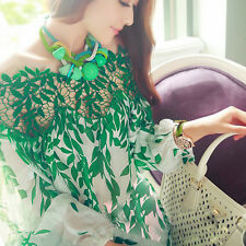 Sexy Women Leaf Printed Loose Lace Blouse Long Sleeve Chiffon Blouse Tops Shirt