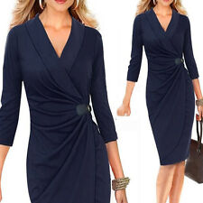 Womens Sexy V Neck Ruched Wrap Belted Midi Bodycon Cocktail Party Pencil Dress