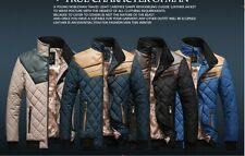 New men's leather jacket padded clothes spell color Slim leather coats winter
