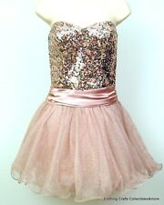 Juniors Pink Strapless Short Prom Dress Sz 5 7 9 11 Tulle Sequins Speechless NWT