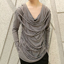 Avant Garde Mens Fashion Heavy Distressed Gloves Gothic Punk Long Sleeve T shirt
