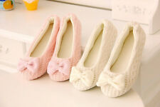 Women Warm Soft Sole Indoor Anti-slip Shoes Knitted Cute Crochet Bowtie Slippers