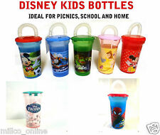 Genuine Walt DISNEY  Glass Cup Tumblers with Straw for Kids School Children New