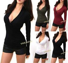 SEXY V-NECK LOW CUT WRAP CRISS CROSS LONG SLEEVE FITTED TEE SHIRT TEE TOP S M L