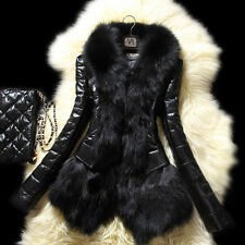 Faux Fur Collar Leather Coat Winter Women Jacket Parka Luxury Overcoat Outerwear