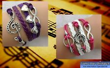 Treble Clef Music Heart Braided Leather Bracelet *UK SELLER*