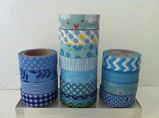 WASHI TAPE: BLUE WASHI TAPE IN 15 DIFFERENT PATTERNS - BRAND NEW