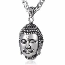 5mm Mens Chain Gold Tone Curb Cuban Link Stainless Steel Buddha Pendant Necklace