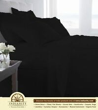 100% EGYPTIAN COTTON ALL BEDDING ITEMS BLACK SOLID CHOOSE SIZE&SET