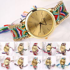Women New Classic Geneva Ethnic Braided Analog Quartz Chain Bracelet Wrist Watch
