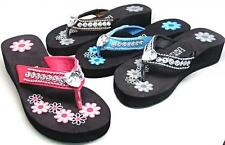 Womens Western Bling Heart Medallion Flip Flops Wedge Thongs Sandals Size 6 - 11