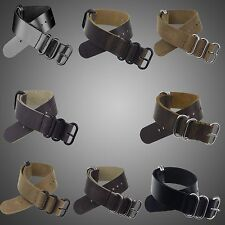 20/22/24MM INFANTRY USA Genuine Leather Watch Band Strap Stainless Steel Buckle
