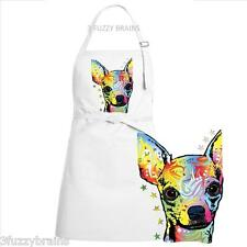 Colorful Abstract Chihuahua Dog Face White Chef Designs Bib Apron