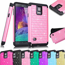 Hybrid Rugged Rubber Bling Crystal Case Cover for Samsung Galaxy Note 4 N9100