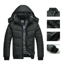 MENS PUFFA COAT HOODED WINTER WARM QUILTED JACKET BLACK M-2XL NEW Black