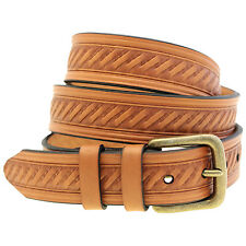 1 3/8 Light Brown English Bridle Leather Embossed Belt Antique Brass Buckle