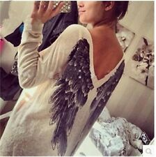 Autumn Causual Women Long Sleeve Feather Angel Wing Print Sweater V Neck Sweater