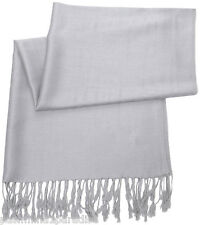 Silver Grey Solid Colour Pashmina Shawl Scarf Wrap Pashminas Shawls Scarves New