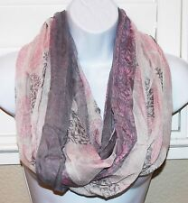 Women's light weigh floral print cowl infinity scarf eternity loop scarf