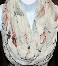 Women's light weigh Dragonfly print cowl infinity scarf eternity loop scarf