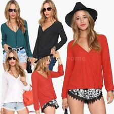 Sexy Women Lady Chiffon Deep V-Neck Long Sleeve Loose Casual T-Shirt Blouse Tops