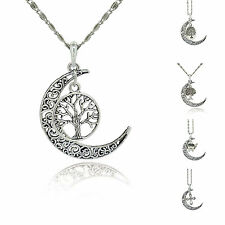 Antique Silver Mixed Mermaid,life tree,Cross Alloy Moon Pendant Chain Necklace