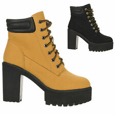 New Women's Lace Up Chunk Heel Platform Lug Sole Ankle Boot Gracie-01