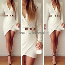 Women Bandage Bodycon Long Sleeve Evening Sexy Party Cocktail Mini Dress,White