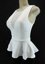 BEBE Peplum Cut Out Mesh Flare Top Fitted Bodycon Off White Ivory XS S M L XL