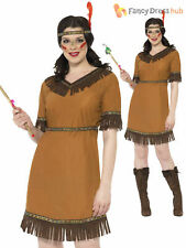 Size 8-18 Ladies Red Indian Squaw Pocahontas Fancy Dress Costume Wild West Women