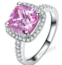 Noble Emerald Cut Pink Sapphire Diamonique 925 Silver Wedding Ring Sz 5-11 Gift