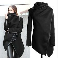 S-XXL Winter Warm Women Woolen PU Edge Long Coat Jacket Trench Overcoat Outwear