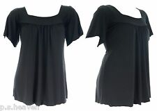 NEW SEXY STRETCH BLACK SQUARE NECK TOP SIZE 16 18 20 22 24 26 WOMENS PLUS SIZE