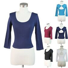 Fashion Women Crop Scoop Neck Top 3/4 Sleeve Sexy Twist Open Back Shirt Solid