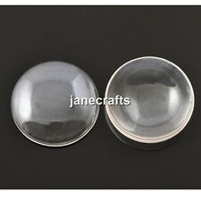 50-500x Wholesale 8-40mm Clear Glass Dome Cabochons Flat Back Fit Cameo Settings