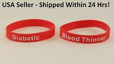 Rubber MEDICAL ALERT BRACELET Diabetic or Blood Thinner - $3.99 or 2 for $4.99